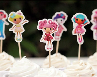 24 pcs Lalaloopsy Dolls Cupcake Toppers/Birthday Decorations/Cake Decorations