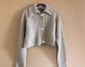 Cropped Cozy Collared Vintage Wool Sweater