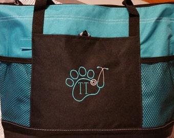 Monogrammed Tote Bag Personalized, Vet Tech Tote, Veterinarian Tote Bag, Teacher Gift