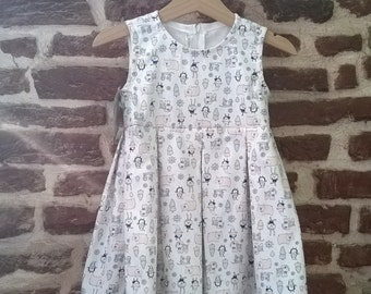 Girl toddler pleated dress, Vintage girl dress, dress two year
