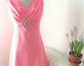 Vintage 1960s Pink Beaded Party Dress