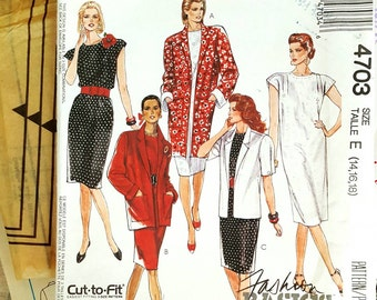 1990 McCall's 4703 Misses Shift Dress and Jacket Sizes 14-18 Cut Apart Unused Sewing Pattern ReTrO!