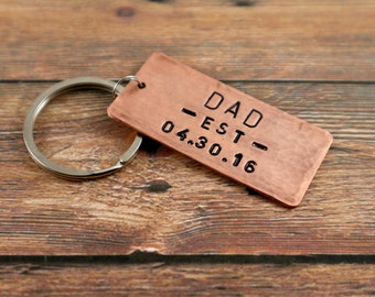 New Dad Gift Dad Keychain New Father's Day Gift Personalized Gift for Dad Keyring Perfect Gift Dad Keychain Copper Gift New Daddy Key Chain