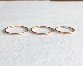Rose Polished Ring, 14K Solid Gold Ring, 14K Rose Gold Ring, Simple Ring, Engagement Ring