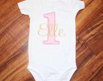 First Birthday Onesie number one bodysuit baby's first birthday Girl Birthday Pink Birthday Birthday onesie Birthday Bodysuit First Birthday