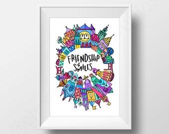 Friendship & Smiles - Print / Happy / Friends