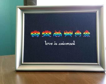 Space Invaders Cross-Stitch Love Nerdy Geek LGBT Pride Rainbow Arcade Art Handmade Unique Old School Video Game Atari Framed Artwork