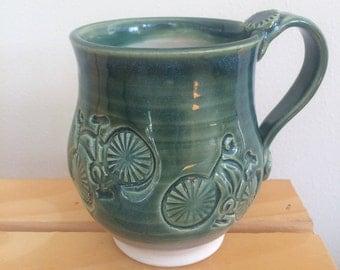 Clay Mug, Bicycle Mug, Handmade Pottery Mug, Green