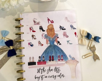 Erin Condren Planner Cover, Happy Planner Cover, Recollections Planner Cover, Cinderella, shoes, fashion, disney, shopping, glitter, insert