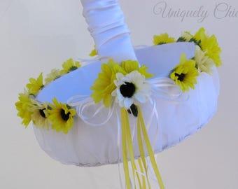Wedding Flower girl basket, Sunflower flower girl basket, Country wedding basket, Flower girl accessories