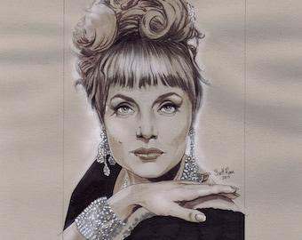 "Carolyn Jones as Marsha Queen of Diamonds from the 1966 Batman TV Series - 8"" x 10"" Original Drawing by Scott Rorie"