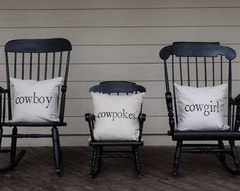 SET OF THREE - Cowgirl - Cowboy - Cowpokes - 18x18 Pillow Covers