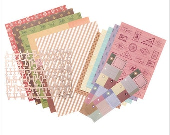 Scrapbooking kit, Scrap Paper set, Decorative paper sheets, Christmas craft, Holiday decoration, Mark's Japan