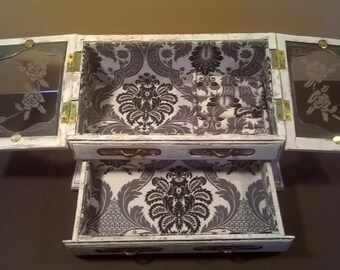 Jewelry Box, Vintage Restored, Distressed Painted, White and Black Design, Jewelry Display, Refinished, Shabby Chic, Upcycled Jewelry Box