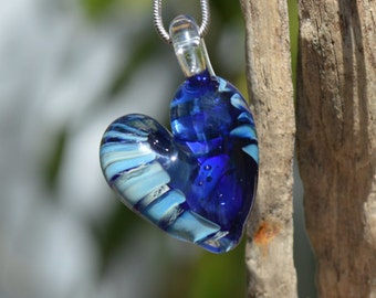 Hand Blown Glass Pendant - Silver Fumed Heart Charm