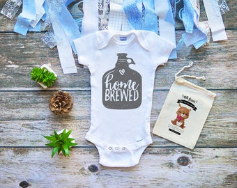 Home Brewed Onesie - Finest House White Funny Onesies® Shirt for Babies - Funny Infant Clothing - Cute Infant Clothing - Milk Shirts - M302