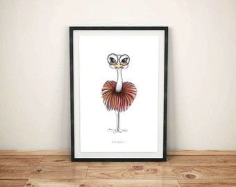 Limited Edition - color ostrich illustration poster