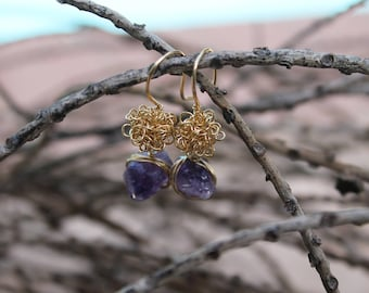 Amethyst  gold field wire earrings