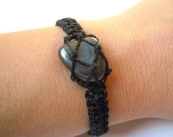 Hematite macrame bracelet, tumbled hematite, concentration bracelet, healing stone, hematite jewels, Aries healing, Aquarius, wrapmeacrystal