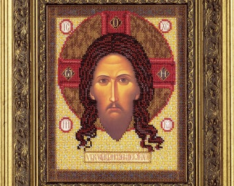 "Bead Embroidery Kit DIY Icon Christ Image Made Without Hands 7.4""x9.8"" Color Canvas Bead Set Needle Guide Beginners"