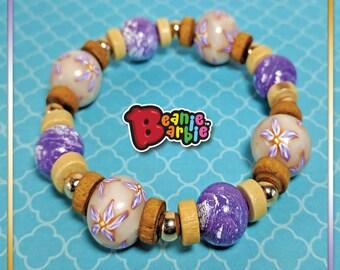 Purple flowers Elastic polymer clay Bracelet