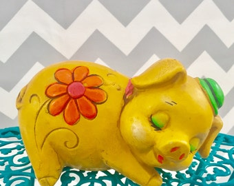 Vintage Mod Piggy Bank, Yellow Floral Piggy Bank, Retro Coin Bank, Kitschy Piggy Bank, Vintage Souvenir Chalkware Piggy Bank, Pig Coin Bank
