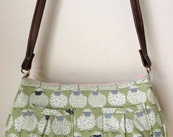 Wool Ewe Be Mine Sheepish Grin shoulder/cross-body handbag with 5 pockets, shoulder strap, top and inside zips - moss green, white
