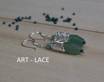 Sterling silver Dangle earrings for women Natural stone gemstone earrings green Aventurine earrings Silver filigree earrings Anniversay gift