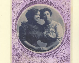 Vintage LGBTQ+ Card - intersectional lesbian card, African American women, two wives card, lesbian mother's day card, Circle Of Love