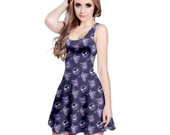 Haunter Dress - Skater Dress Ghastly Dress Pokemon Dress Ghost Haunter Evolutions Dress Gengar Dress Plus Size Dress Cosplay Ghost Dress