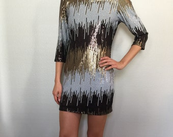 Metalic Sequined Party Dress with Sleeves