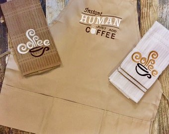 Coffee Lovers Apron and Kitchen Towels Set - Instant Human Just Add Coffee - Housewarming or Hostess Gift - Tan and Brown Coffee Kitchen