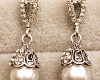 Silver, Pearl & Crystal Drop Earrings EA6070