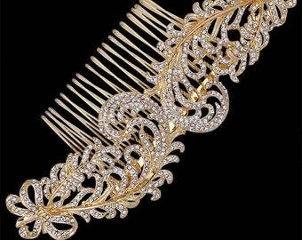 Handmade Sprawling Golden Crystal Scroll Hair Comb