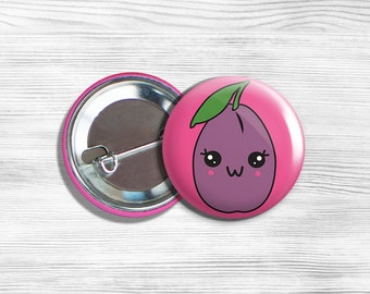 Kawaii Plum Vegan Vegetarian Fruit Pinback Button Pin 1.75""
