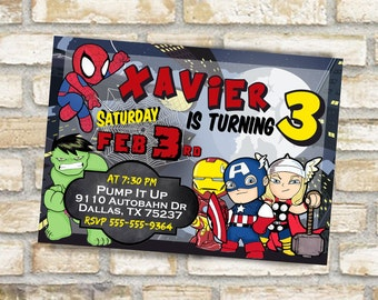 Avengers birthday party invitation for kids customize and receive a digital file to print captain america ironman the hulk spiderman- mailed