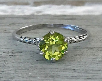 Edwardian Authentic Antique Peridot Vintage Filigree Sterling Silver Ring Size 6