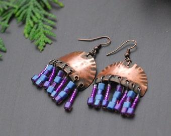 Ready to ship Purple Pink Copper earrings Wire earrings Mixed Metal Earrings Oxidized Copper Bohemian hoop earrings Hammered Copper Earrings