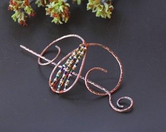 Copper Hair Barrette Bun Holder Hair Slide Hair Pin Hair Stick Hair Sticks Hair Clip Rustic copper accessories Shawl pin Scarf brooch scarf