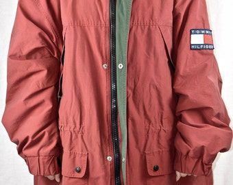 90s Tommy Hilfiger XL Heavy Parka Fleece Lined Big Logo Spell Out