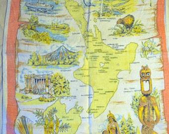 Vintage Tea Towel - North Island New Zealand Used Pure Linen vintage fabric