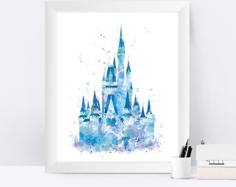 Cinderella Castle Print, Watercolor Princess Castle, Disney Castle Print, Disney Gift, Baby Nursery Decor, Artwork Wall Art instant download
