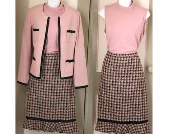 Jackie O. Three Piece Pink Skirt Suit // Vintage Suit // Jackie Onassis