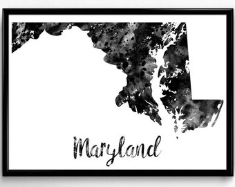 Map of Maryland, United States of America, Black and White Map, Travel, Watercolor, Room Decor, Poster, gift, Print, Wall Art (753)
