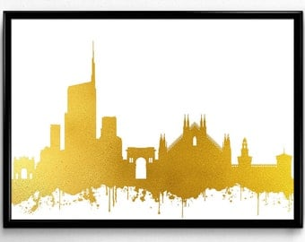 Milan Skyline, Travel, City Skyline, Poster, gift, Poster, Room Decor, printable wall art (83)