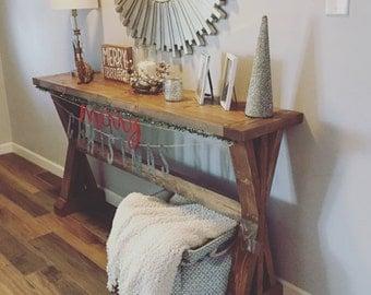 Entry Table // Console // Farmhouse // X Style // Knotty Alder // Hallway // Sofa Table
