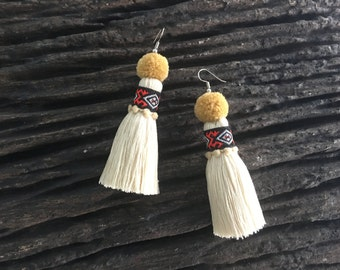 Tassel Earring With Embroidered Lace & Tiny Pompom