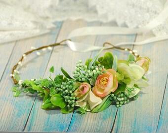 Green and pink flower crown Flower crown Floral crown Woodland wedding Woodland wedding hair Wedding halo Bridal headband Weding Crown Boho