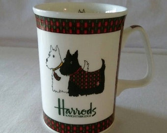 Harrods Knightsbridge Scottie Dog Mug Plaid Tartan Scotty Fine Bone China Cup