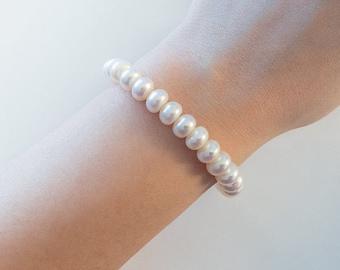 AAA freshwater pearl bracelet, Silver toggle bracelet, Pearl bracelet, bridal gift, pearl wedding, pearl jewelry, friendship bracelet